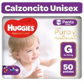 Pañales Huggies Natural Care Pants Unisex Talla G – Paquete 50 unid